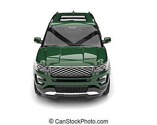 Dark forest green modern SUV - front view