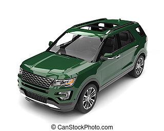 Dark forest green modern SUV - top down view