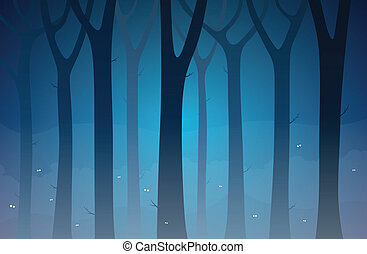 Dark Forest - Illustration of a dark forest full of unknown...