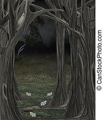 Dark forest illustration