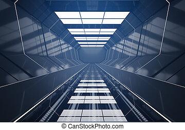Dark futuristic tunnel interior. 3D Rendering
