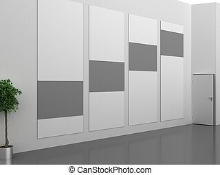 Dark gallery Interior with empty frame on wall - Gallery...