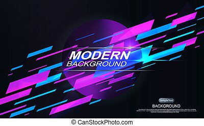 Dark geometric background with blue and violet stripes with a gradient