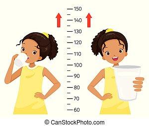 Dark Girl Drinking Milk For Health And Taller. Girl Measuring Her Height.