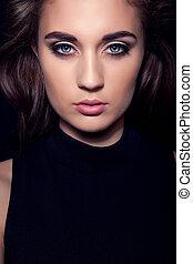 dark girl portrait with blue eyes
