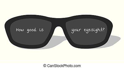 dark glasses on white background