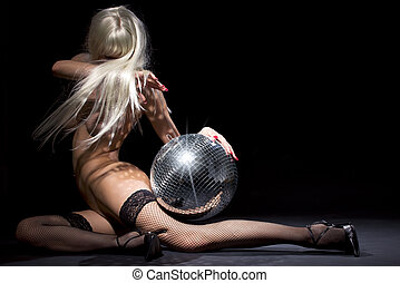 dark glitterball dance - party dancer girl in fishnet...