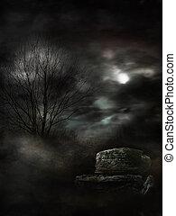 Dark Gloomy Landscape - Mysterious foggy landscape full of ...