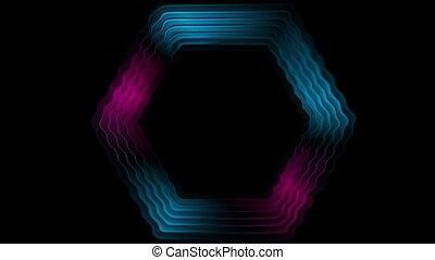 Dark glossy rippling hexagon tech video animation - Dark...