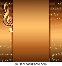 dark gold background with music notes - vector musical flyer