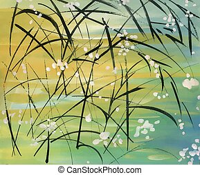 Dark grass with flowers on abstract background.