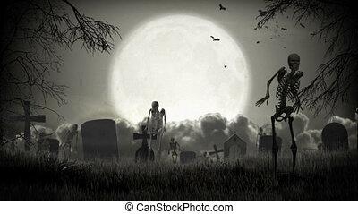 Dark graveyard. Halloween time.