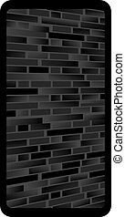 Dark gray abstract background with bricks