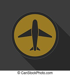 dark gray and yellow icon - airplane