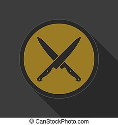 dark gray and yellow icon - crossed kitchen knives