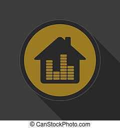 dark gray and yellow icon - house with equalizer