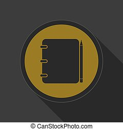 dark gray and yellow icon - notepad with pencil