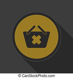 yellow icon - shopping basket cance - dark gray and yellow...