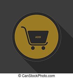 dark gray and yellow icon, shopping cart add
