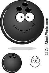 Dark gray cartoon bowling ball character