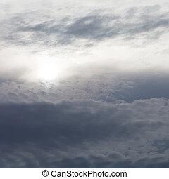 dark gray clouds in evening sky