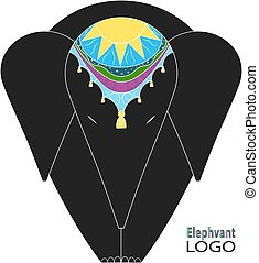 Dark gray elephant with a traditional multicolored decoration on his head. Logo.