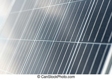 Solar cells. Dark gray smooth reflective surface of safe solar panel to generate energy for ecofriendly home