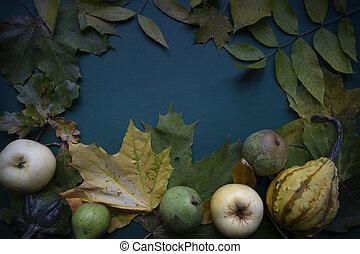 Dark green blue autumn top view background frame - Dark...