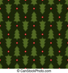 Dark green Christmas fir tree seamless pattern