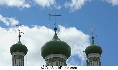 Dark green domes with crosses of the monastery