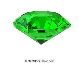Dark-green gemstone isolated on white. High resolution 3D...