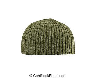 Dark green hat isolated on white