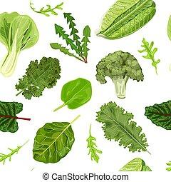 Dark green leafy vegetables seamless vector pattern...