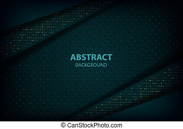 Dark green light abstract background with black overlap layers.
