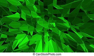 Dark green low poly waving surface as crystal mesh. Dark...