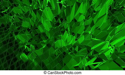 Dark green low poly waving surface as futuristic cyberspace....