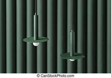 Dark green metal lamps hanging on folded colorful wall background in studio