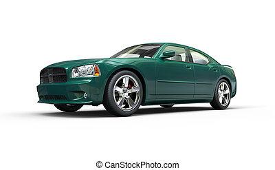 Dark Green Metallic Fast Car