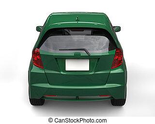 Dark green metallic modern compact car - back view