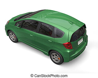 Dark green metallic modern compact car - top view