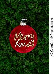 Christmas ball on dark green moss background
