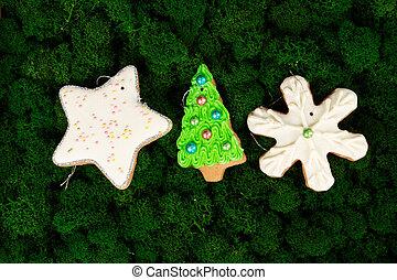 Christmas gingerbread cookies on dark green moss background