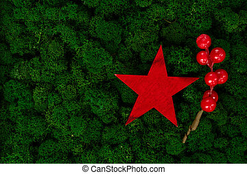 Christmas red star and berries on dark green moss background
