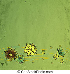 dark green old paper textured flourish flowers background