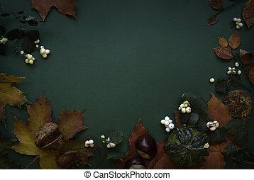 Dark green red autumn top view background frame - beautiful...