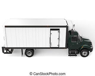 Dark green refrigerator truck - top down side view