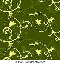 Dark green seamless floral vector pattern.