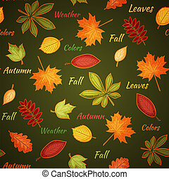 Dark green seamless pattern with autumn leaves
