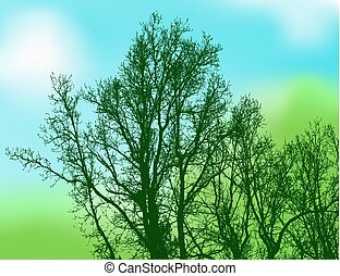 dark green silhouette trees on natural abstract background