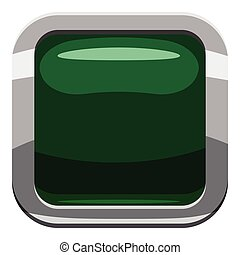 Dark green square button icon, cartoon style